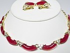 Red and Gold Thermoset Necklace and Earrings