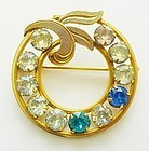 Classic Circle Pin With Rhinestones